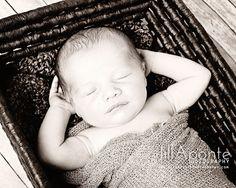 newborn photography baby basket posing