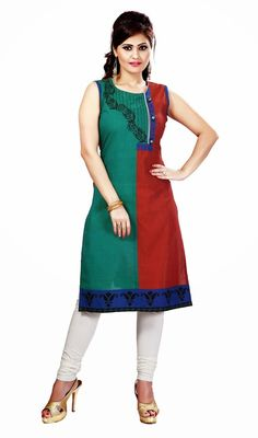 Designer red and sea green cotton kurti is a long kurti which is decorated with half n half color fabric, silk thread embroidered floral design, beads and paisley motifs in the hem which gives you an elegant look. #StylishClassicalKurtis