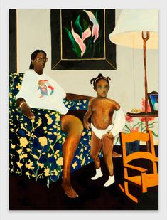 Noah Davis, Single Mother with Father Out of the Picture, © The Estate of Noah Davis. Courtesy The Estate of Noah Davis. African American Artist, American Artists, Henry Miller, Jeff Koons, Black Artists, Community Art, Figure Painting, Contemporary Paintings, Figurative Art