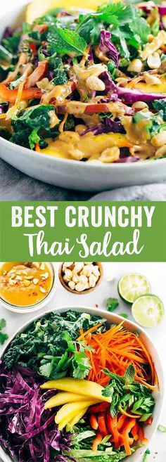 Crunchy Thai Salad Recipe with Creamy Peanut Dressing - Each bite packs a powerhouse of fresh superfoods all in one irresistible bowl. via @foodiegavin