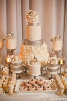 Gold Wedding Cakes WedLuxe – An Elegant Silver and Ivory Wedding at Fairmont Royal York Elegant Wedding Cakes, Beautiful Wedding Cakes, Wedding Cake Designs, Ivory Wedding, Beautiful Cakes, Dream Wedding, Trendy Wedding, Elegant Cakes, Purple Wedding