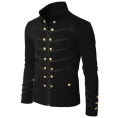 Gothic Black Military Napoleon Hook Jacket Black Lace Trim Jacket Wool Cotton Made,high quality military napoleon jacket in wool and cotton, the dark attitude offers supreme quality gothic and fashion jacket on very reasonable prices, buy gothic jacket. Military Fashion, Mens Fashion, Style Fashion, Fashion Black, Fashion Fall, Fashion Rings, Fashion Guide, Fashion 2016, Vestidos