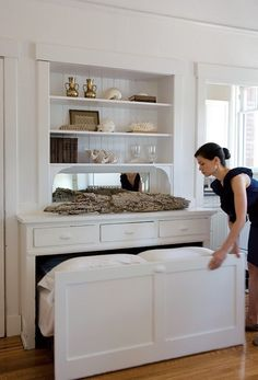 """Pull out bed. Great for guest bedroom/office.  The other side of the wall (where the bed is """"stored"""") could be an upper storage closet?"""
