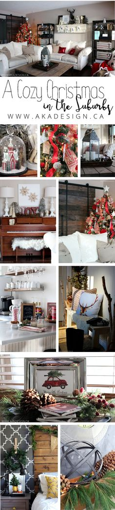 Creating a cozy Christmas in the suburbs with red plaids, deer and natural elements.