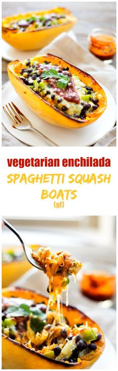 Mexican food with a delicious healthy twist. These good-for-you vegetarian enchilada spaghetti squash boats are cheesy, saucy, and spicy - the perfect taste trifecta! #vegetarian