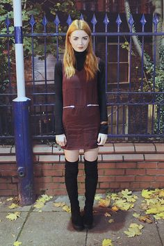 American Apparel Black Turtleneck Top, Glamorous Burgundy Shift Dress, Daniel Wellington Brown Leather And Silver Watch, Asos Thigh High Boots