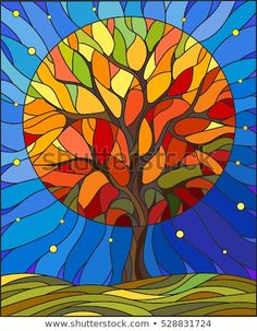 Illustration in stained glass style with autumn tree on sky background with the … Illustration in stained glass style with autumn tree on sky background with the stars Stock Vector – 68049380 Art Sea Glass Art, Stained Glass Art, Tableau Pop Art, Glass Painting Designs, Arte Pop, Autumn Trees, Autumn Art, Art Plastique, Tree Art