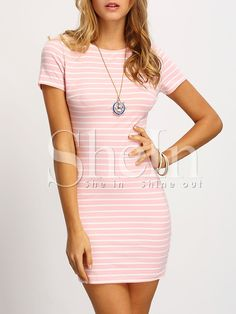 8246d36dba Pink Crew Neck Striped Sheath Dress Striped Dress
