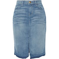 Current/Elliott The High Waist stretch-denim pencil skirt ($73) ❤ liked on Polyvore featuring skirts, mid denim, blue knee length skirt, stretch denim skirt, button skirt, high waisted pencil skirt and blue skirt