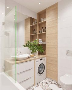Washing machine and sink together, and toilet to the side?