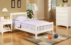 3 PC. Bedroom Set with Twin bed, Night Stand and Chest in White Finish |