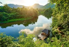 you can see the long river from the viewpoint at HinTok River Camp Tent Camping, Campsite, Glamping, River Camp, Spring Nature, Resorts, Lush, Greenery, Thailand