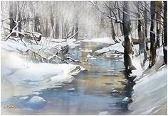 christmas day - ohio by Thomas  W. Schaller Watercolor ~ 22 inches x 30 inches