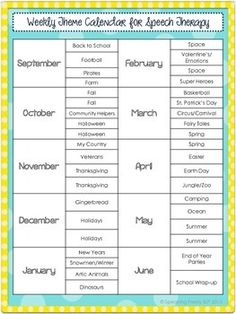 Here is a list of weekly themes by month to help you organize therapy.  Enjoy!You May Also Like...Coin Hogs: A Quantitative Concepts GamePreschool Vocabulary Cards & ScreenerOne Rainy Day: A (Mostly) No Print Book Companion PackConnect with Speaking Freely, SLPNew products are always 50% off for the first 24-hours.