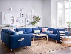canapé d'angle Ikea bleuSpécial famille nombreuse, canapé d'angle panoramique, Ikea.