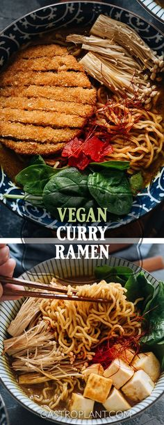 Vegan Curry Ramen features rich and fragrant Japanese-inspired curry broth with a hint of spice. Includes baked tofu, roasted enoki mushrooms, and fresh spinach. Takes just 30 minutes. Vegan Soup, Vegan Vegetarian, Vegetarian Recipes, Best Vegan Recipes, Asian Recipes, Healthy Recipes, Baby Food Recipes, Soup Recipes, Zoodle Recipes