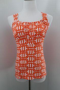 ANN TAYLOR LOFT Blouse Orange & White Print Tank Top Size S #AnnTaylorLOFT #TankCami