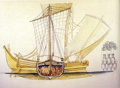 Navire romain (aquarelle de Jean-Marie Gassend, 2005)