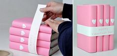 diy valentine's day gifts girlfriend books wrapping idea pink paper