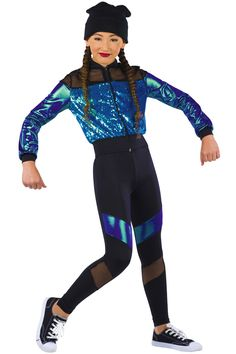 Peacock sequin on mesh, black mesh and spandex jacket with purple/jade foil printed spandex sleeves and zipper front. Separate black spandex bra top with adjustable black elastic straps. Black spandex pants with matching inserts. Hip Hop Dancer Outfits, Hip Hop Outfits, Dance Outfits, Dance Dresses, Summer Outfits For Teens, Teen Girl Outfits, Girls Fashion Clothes, Fashion Outfits, Teenage Outfits