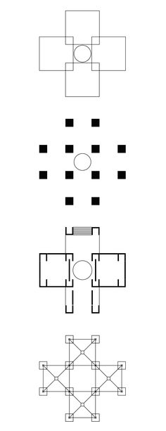 Louis Kahn + Anne Tyng   The Bath House design is a pavilion in the shape of a Greek cross composed of four squares