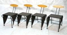 Set 4 Italian Memphis style Dining Chairs. Black