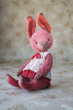 OOAK artist teddy rabbit collectible rabbit plush teddy