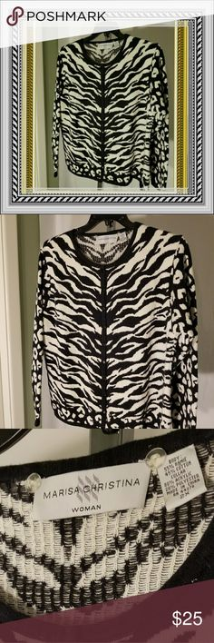 Marissa Christina 2x EUC Animal print sweater Cute EUC Marissa Christina Women's size 2x Animal Print (zebra sweater, leopard sleeves and trim) button up sweater. Is a reposh. Selling at price I paid because it didn't fit. If questions, please contact me. I'm here to help you😉selling at same price because I don't profit off others. Just my belief system. Marissa Christina Sweaters Cardigans