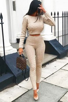 New Women Cable Knit Crop Top Lounge Wear Suit Ladies Co ord Tracksuit Set Moda Instagram, Loungewear Outfits, Loungewear Set, Sleepwear Women, Women's Sleepwear, Mode Outfits, Fall Outfits, Casual Outfits, School Outfits