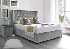 The Savannah winged ottoman is sure to create a dramatic focal point in your bedroom. The sumptuously upholstered velvet silver grey deep buttoned headboard will create a real sense of glamour and opulence. With a high quality fully boarded ottoman base system this bed combines style and practicality. The sprung slatted base can be easily raised to reveal a large capacity fully boarded storage area that provides up to 4 times more storage than a conventional 4 drawer divan. If your looki...