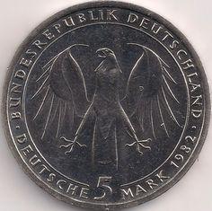 Wertseite: Münze-Europa-Mitteleuropa-Deutschland-Deutsche-Mark-5.00-1982-Goethe
