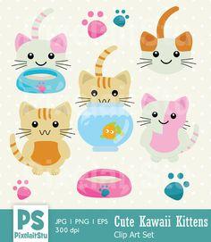 Cute Kawaii Kittens Clip Art Graphics This listing is for Cute Kawaii Kittens Digital Clip Art Graphics Set. This digital clip art is perf by PixelaitStu Animal Love Quotes, Cute Animal Memes, Cute Animal Videos, Cute Animals Puppies, Kittens And Puppies, Cute Baby Animals, Clipart, Cute Animal Tattoos, Kawaii