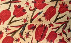 Fragment of yardage displaying tulips and insects, Coromandel coast, reportedly found in Japan. As featured in the book 'Indian Cotton Textiles; Seven centuries of Chintz from the Karun Thakar Collection' by John Guy and Karun Thaker. Cotton Textile, Indian Textiles, Indian Artist, Botanical Drawings, Pretty Patterns, Museum Collection, Natural World, How To Draw Hands, Wallpaper