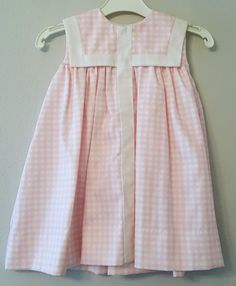 Vintage Girls Long Pink Gingham Dress with Square by breedbabynyc