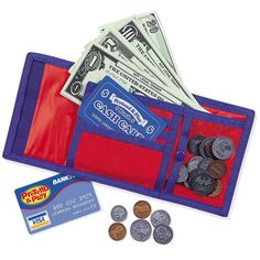 Learning Resources Cash 'N' Carry Wallet: Learn the value of money with this play wallet and play money. Includes 30 bills, 40 coins, pretend credit card, and bank card. Features zippered coin compartment and suggested activities. Velcro Wallet, Play Money, Cash Register, Bank Card, Game Sales, Dramatic Play, Play To Learn, Learning Resources, Learning Centers