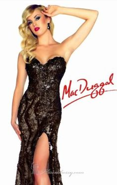 Strapless Black and White Gown by Mac Duggal Black White Red 76414R