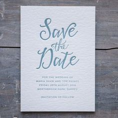 Calligraphy Letterpress Save The Date