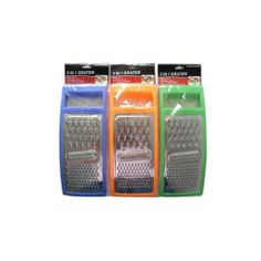 3-In-1 Grater Multipurpose Assorted Colors 18Pcs by FindingKing. $55.99. It's always a good idea to have a grater in the kitchen that can do more than one job. This grater will take care of several jobs at once. Available in assorted colors such as orange; blue and green; this grater will take care of many kitchen jobs easily.