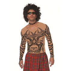 Tattoo t-shirt voor heren huidkleur. Huidkleurig tattoo t-shirt met zwarte tatoeage print. Dit tattoo shirt is one size, ongeveer M/L. Carnavalskleding 2015 #carnaval