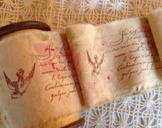 French Sentiment & Doves Distressed floral cotton ~ Hand frayed ~ Hand stamped with a romantic Sepia French Script & Lots of Fench Doves! 42 Inches X 3 Inches wide Fabulous Old World Style French Script, Old World Style, Curtain Tie Backs, Hanging Pictures, Hand Stamped, Mason Jars, Shabby, Romance, Festival 2016