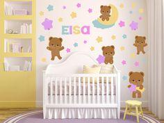 Teddy Bear Wall Decal - Bears and Stars Nursery Decals