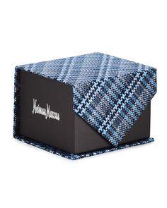 Neiman Marcus Boxed Plaid Silk Tie, Navy (Blue), Men's