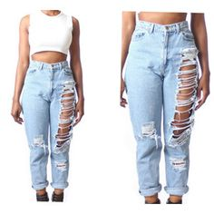 10% OFF Sale All SIZES High Waist Custom Made Destroyed Boyfriend Jeans Plus Sizes