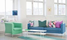 Loft vibes   White washed industrial loft with a bright blue sofa and green armchair   IKEA Karlstad with a Marine Brera Lino Bemz cover
