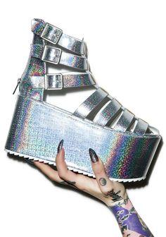 glitter platforms  space grunge cyber grunge cyber punk neogal harajuku fachin glitter holographic platforms flatforms plus plus size shoes shoes sandals dollskill