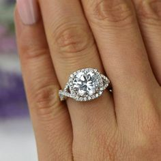3.25 ctw Twisted Halo Engagement Ring