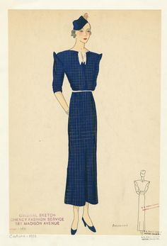[Navy day dress with matching hat and shoes] ca. 1933