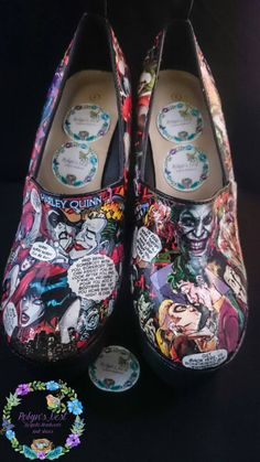 Check out this item in my Etsy shop https://www.etsy.com/uk/listing/252959396/harley-quinn-and-the-joker-high-heels