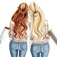 Cute Quotes For Your Bestfriend Bff Bff Pictures, Best Friend Pictures, Friend Photos, Hair Illustration, Copic Art, Girly Drawings, Drawings Of Friends, Best Friends Forever, Fashion Sketches