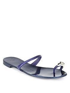 Giuseppe Zanotti Metallic Leather Toe Ring Sandals